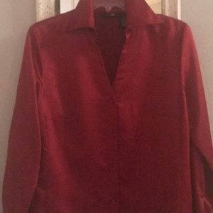 RED 100% Polyester East 5th long sleeve Blouse